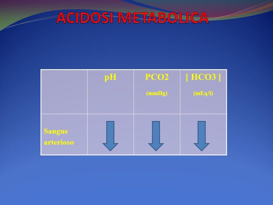 ACIDOSI METABOLICA pH PCO2 (mmHg) [ HCO3-] (mEq/l) Sangue arterioso